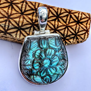 Fabulous Flower Carved Labradorite Pendant in Sterling Silver (Includes Silver Chain) #3