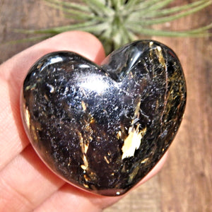 Genuine Greenland Nuummite Heart With Lightening Flashes of Mysterious Color