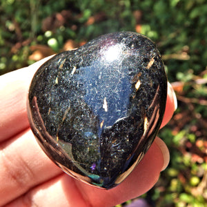 Gold Flashes Black Genuine Nuummite Heart Carving From Greenland
