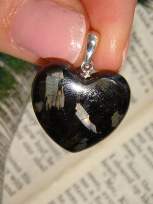 Large Mysterious Flashes~ Genuine Nuummite Heart Pendant in Sterling Silver (Includes Silver Chain) - Earth Family Crystals