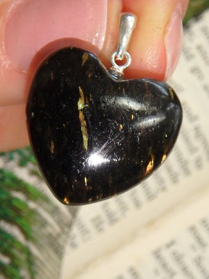 Golden Flashes~ Greenland Nuummite Heart Pendant in Sterling Silver (Includes Silver Chain) - Earth Family Crystals