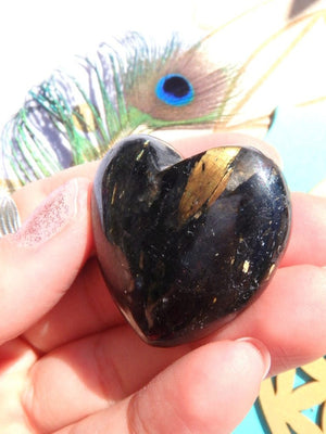 Amazing Golden Lightening Greenland Nuummite Heart Carving 2 - Earth Family Crystals