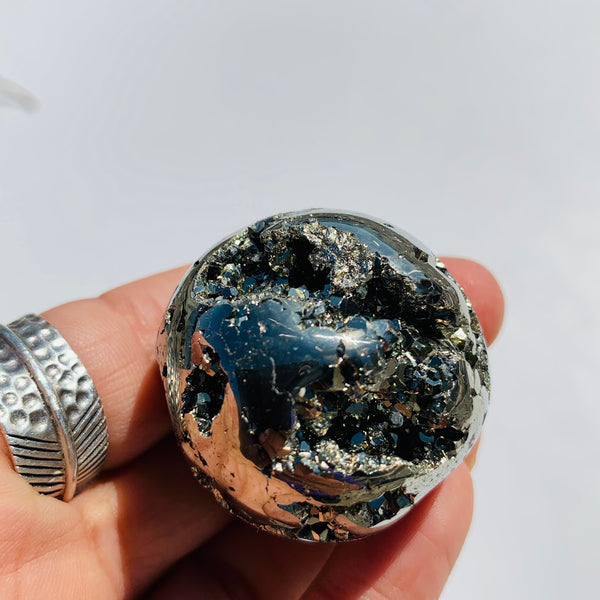 Uplifting Golden Sparkle Pyrite Geode Sphere From Peru #2