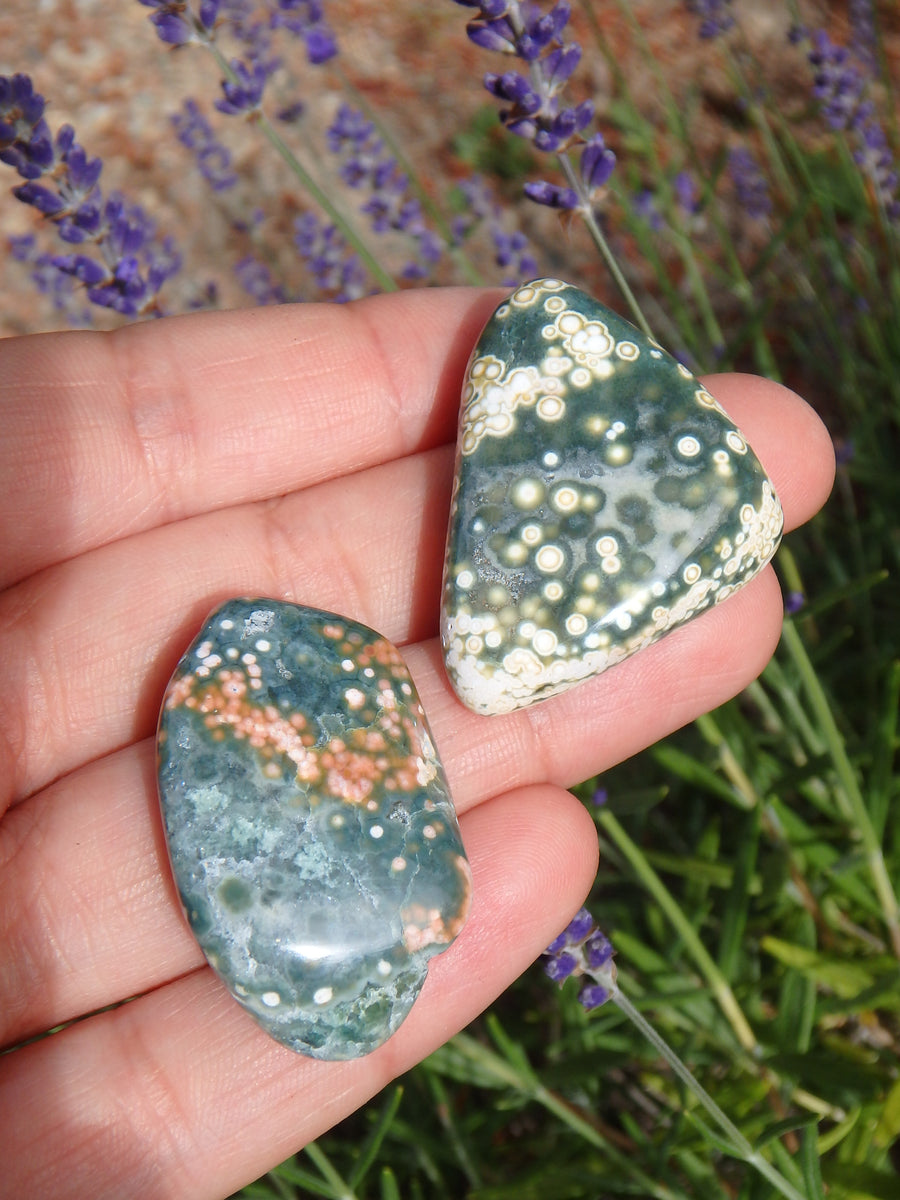 Set of two Pretty Orbs of Color Ocean Jasper Tumble Stones
