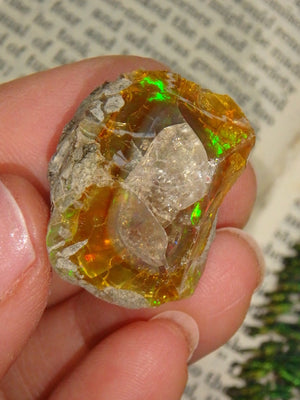 Incredible Golden Ethiopian Opal With Beautiful  Flashes of Green & Red - Earth Family Crystals