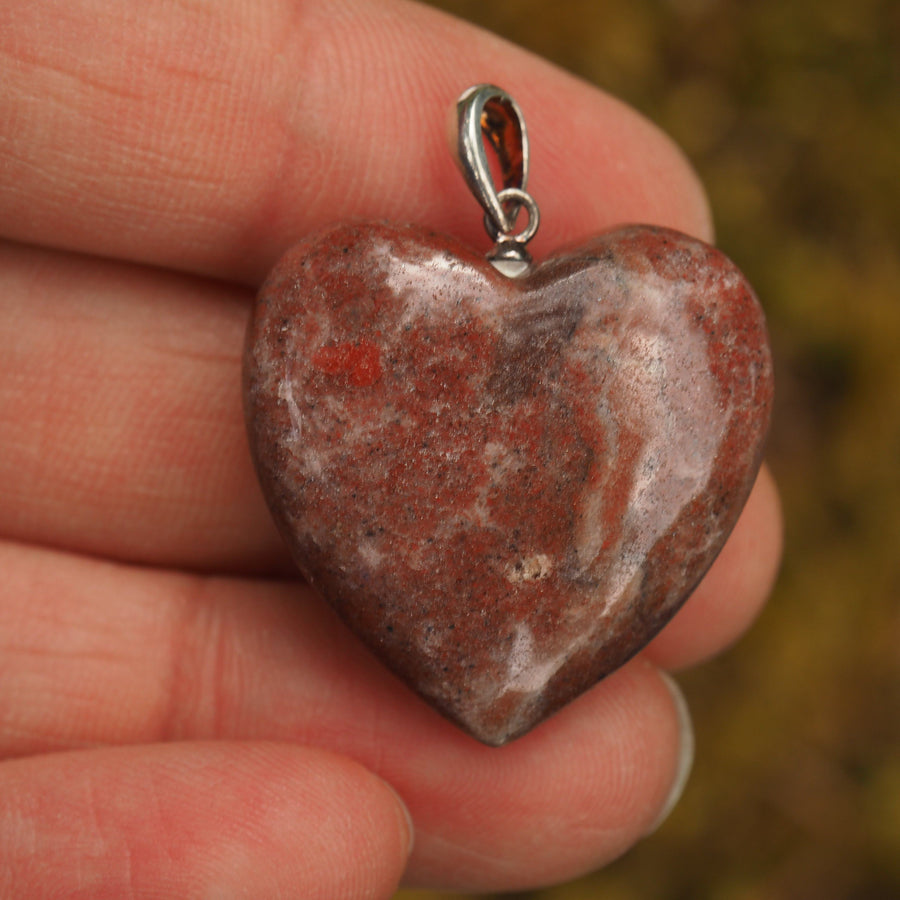 Cranberry Red Greenland Thulite Heart Pendant in Sterling Silver (Includes Silver Chain)