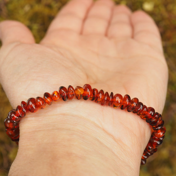 Lithuanian Baltic Amber Cognac Bracelet on Stretchy Elastic Cord