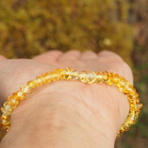 Lithuanian Baltic Amber Lemon Bracelet on Stretchy Elastic Cord
