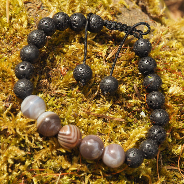 Botswana Agate & Lava Stone Adjustable Cord Bracelet (Ideal for Essential Oils)