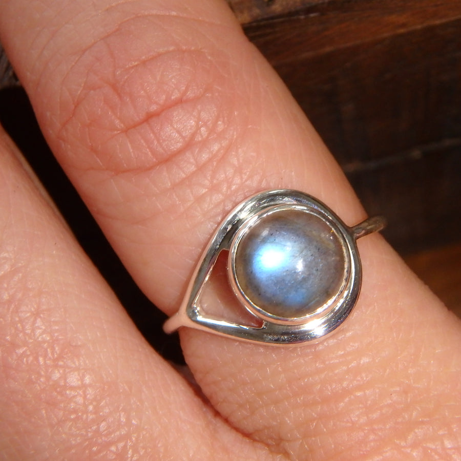 Gorgeous Stacking Ring~ Flashy Labradorite Sterling Silver Ring (Size 8, 9)
