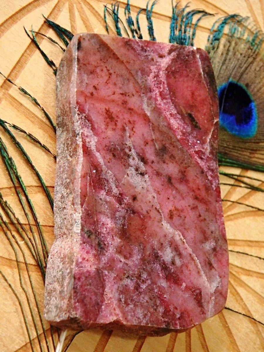 Divine Deep Pink Australian Rhodonite Partially Polished Free Form Specimen - Earth Family Crystals