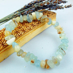 Frosty Blue Lemurian Aquatine Calcite Gemstone Bracelet on Stretchy Cord - Earth Family Crystals