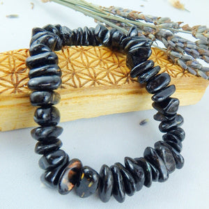 One Golden Flashes Rare & Genuine Greenland Nuummite Bracelet on Stretchy Cord