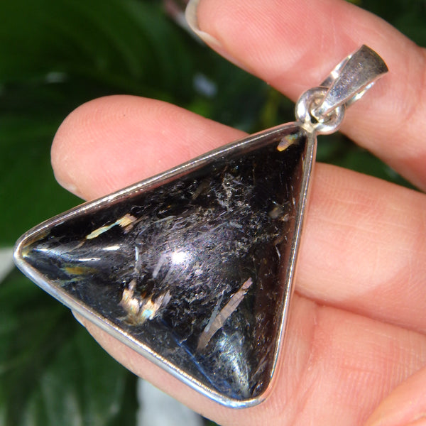 Mystical Lightening Flash Greenland Nuummite Pendant in Sterling Silver (Includes Silver Chain)