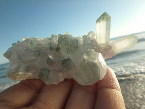 Gorgeous GREEN CHLORITE QUARTZ CLUSTER - Earth Family Crystals