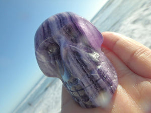 Ocean Cleansed! Mr.Personality Purple FLUORITE GEMSTONE SKULL CARVING - Earth Family Crystals