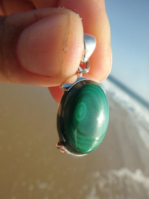 Marvelous GREEN MALACHITE GEMSTONE PENDANT In Sterling Silver (Includes Silver Chain) - Earth Family Crystals