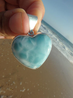 Exquisite Blue LARIMAR GEMSTONE HEART PENDANT In Sterling Silver (Includes Silver Chain) - Earth Family Crystals