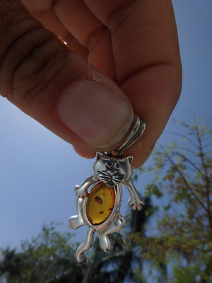 Adorable BALTIC AMBER CAT PENDANT In Sterling Silver (Includes Silver Chain) - Earth Family Crystals