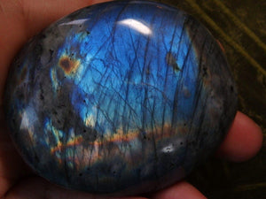 Mega Cobalt Flash LABRADORITE PALM STONE - Earth Family Crystals