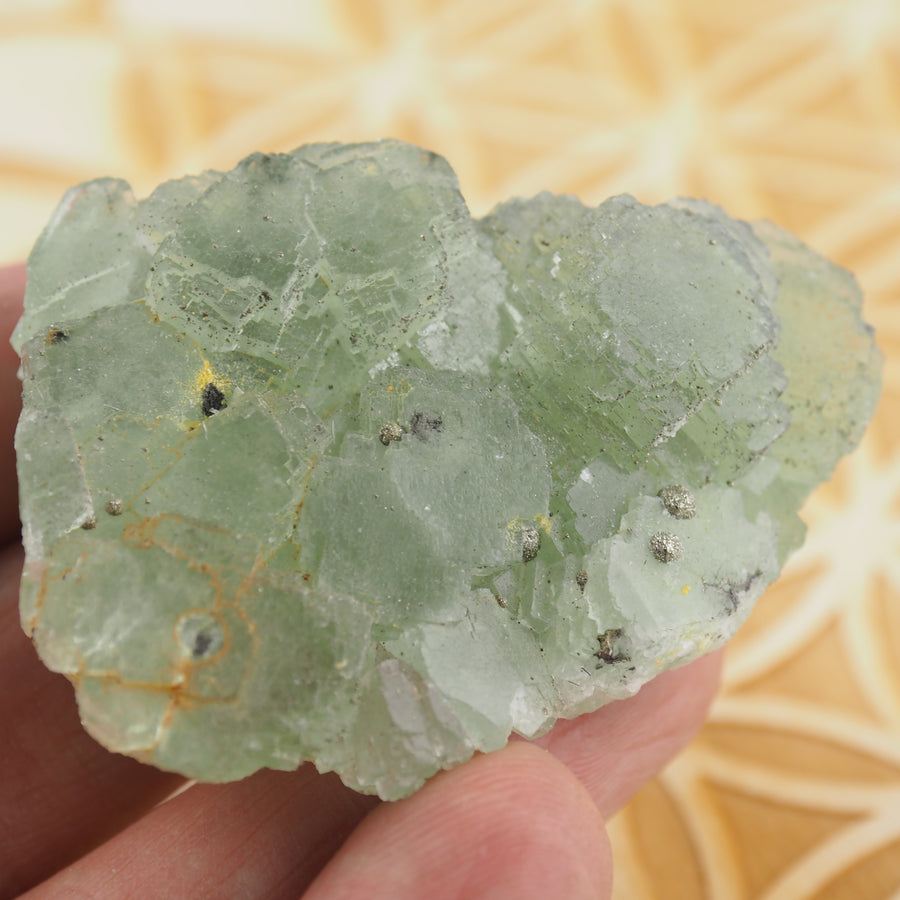 Raw Green Fluorite With Pyrite Inclusions #1