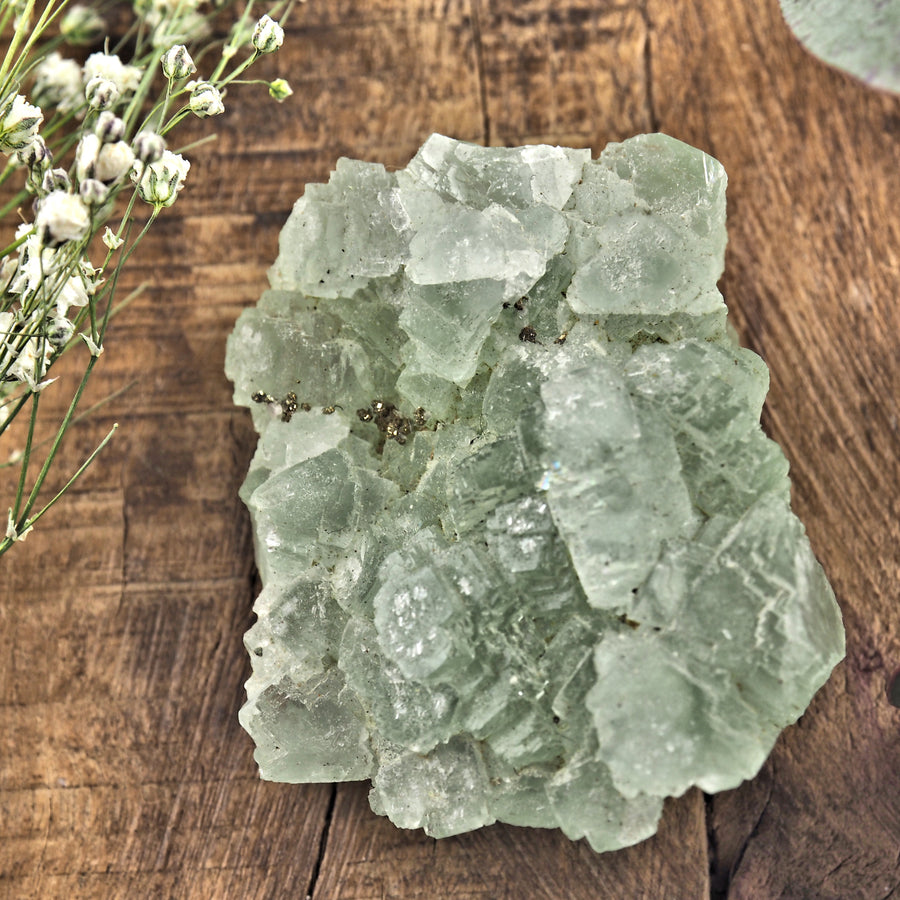 Raw Green Fluorite With Pyrite Inclusions #2
