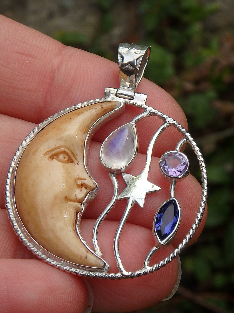 Faceted Amethyst, Iolite & Rainbow Moonstone Crescent Moon Bone Pendant in Sterling Silver (Includes Silver Chain)