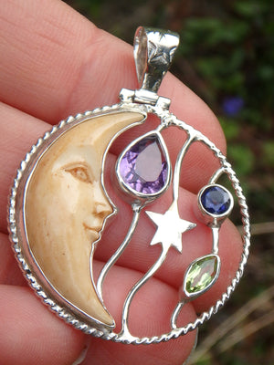 Faceted Amethyst, Iolite & Peridot Crescent Moon Bone Pendant in Sterling Silver (Includes Silver Chain)