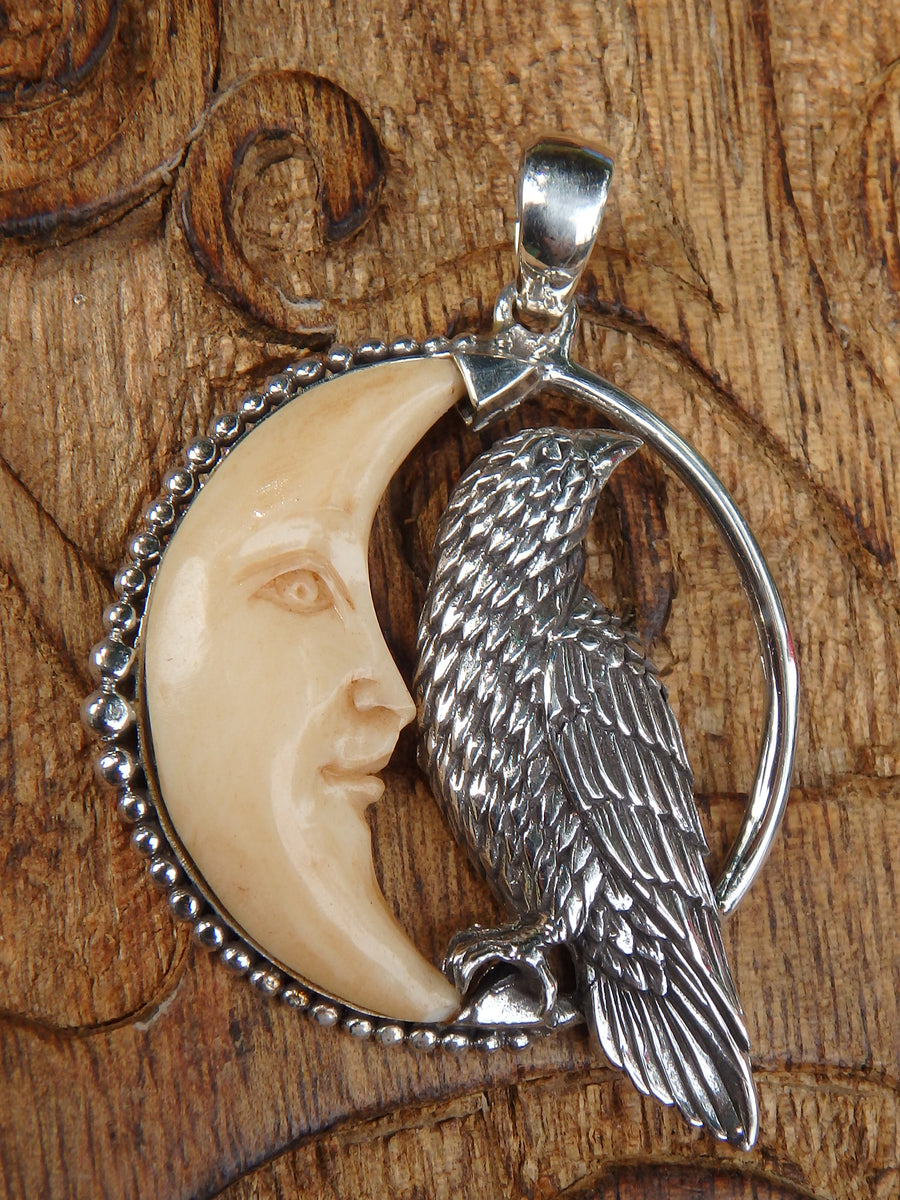 Raven & Crescent Moon Bone Pendant in Sterling Silver (Includes Silver Chain)