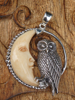Owl & Crescent Moon Bone Pendant in Sterling Silver (Includes Silver Chain)