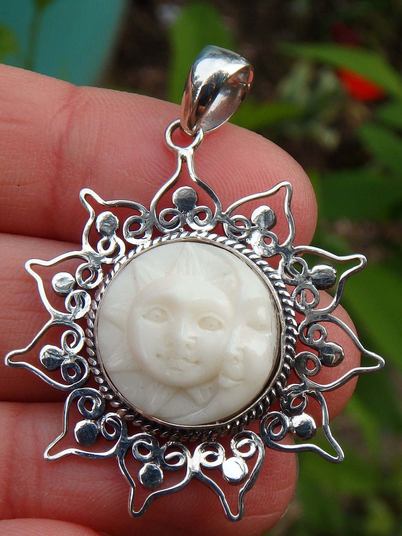 White Moon Sun Bone Face Pendant In Sterling Silver Includes Silver Earth Family Crystals
