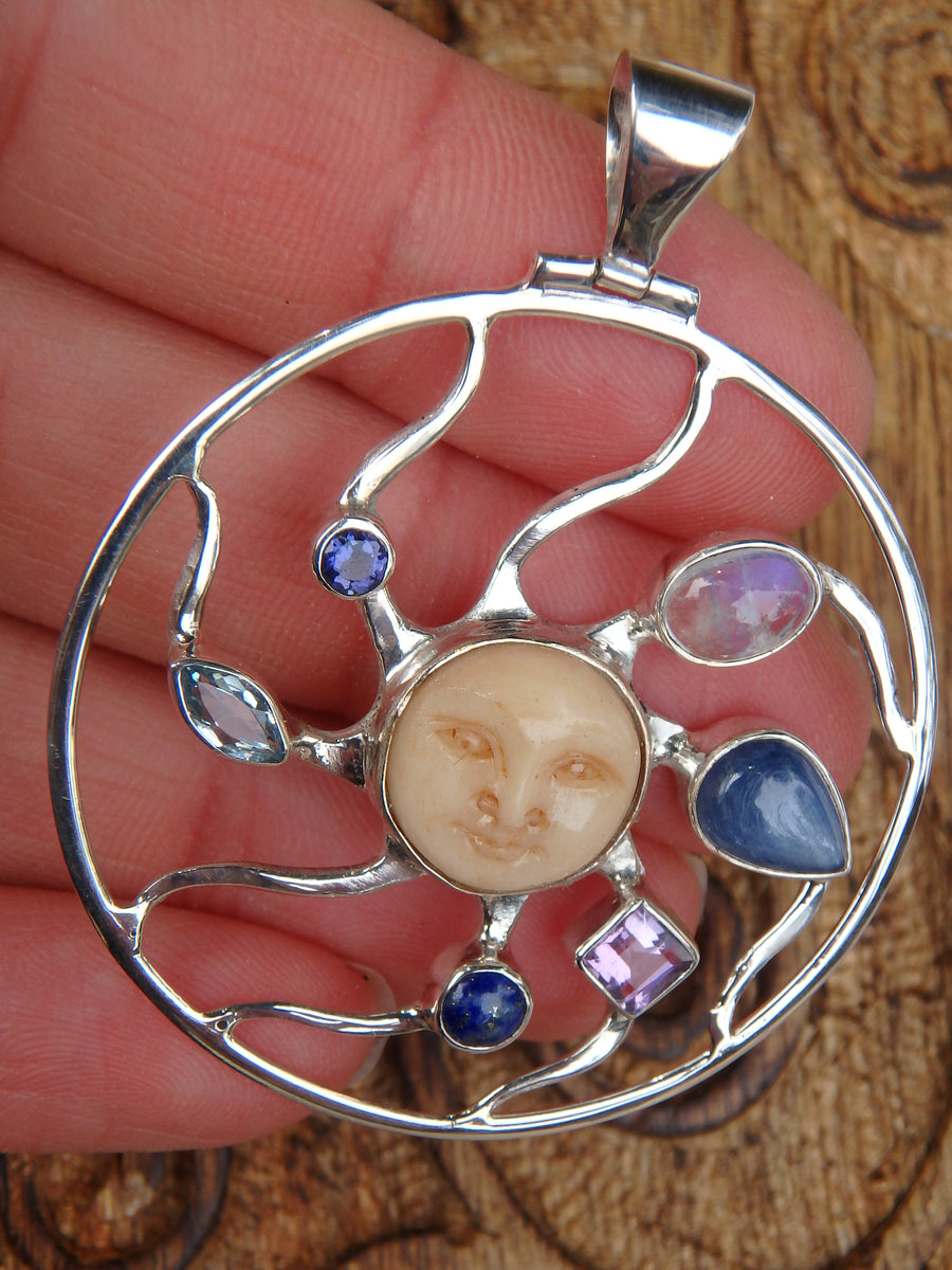 Rainbow Moonstone, Kyanite, Amethyst, Lapis Lazuli, Blue Topaz & Iolite Bone Face Pendant in Sterling Silver (Includes Silver Chain)
