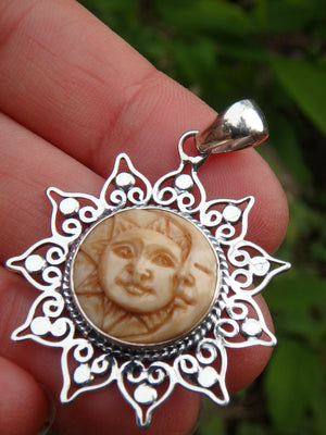 Golden Moon & Sun Bone Face Pendant in Sterling Silver (Includes Silver Chain)