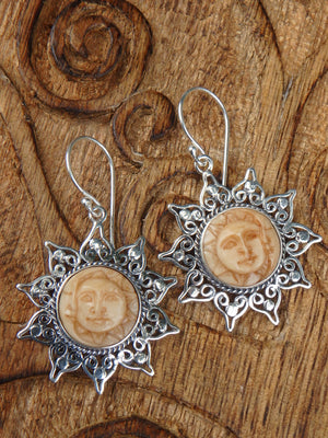 Golden Crescent Moon & Sun Bone Earrings in Sterling Silver