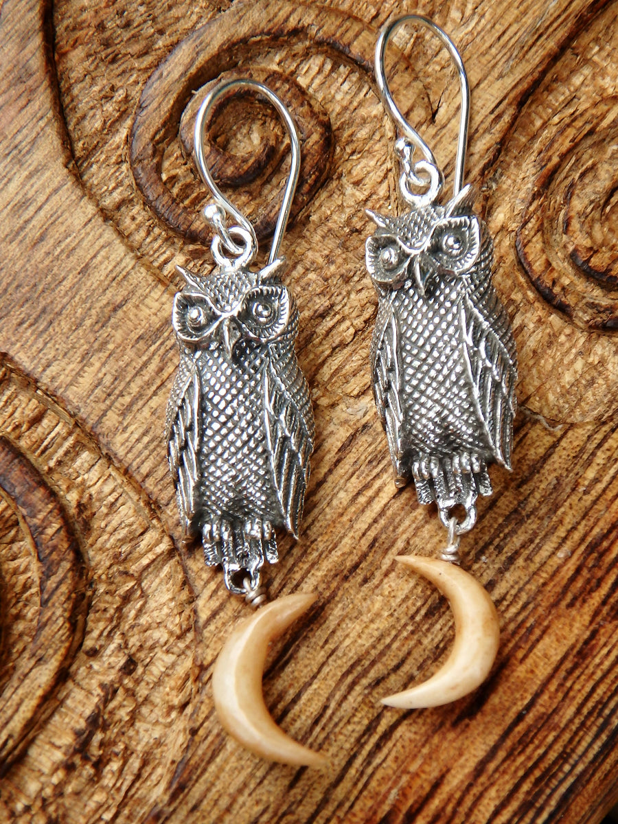 Owl & Golden Crescent Moon Earrings in Sterling Silver