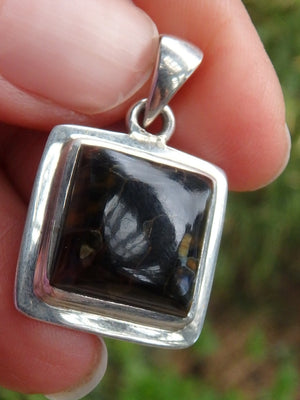 Silky Golden & Blue Pietersite Pendant In Sterling Silver  (Includes Silver Chain) - Earth Family Crystals