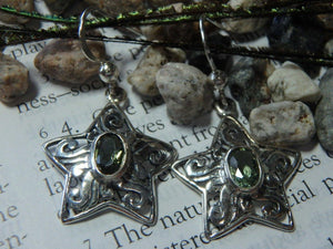 Custom Crafted Faceted MOLDAVITE STAR EARRINGS In Sterling Silver - Earth Family Crystals