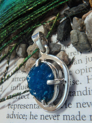 Rare! Electric Blue CAVANSITE PENDANT In Sterling Silver (Includes Silver Chain) - Earth Family Crystals