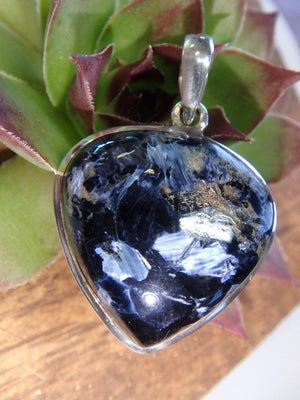 BLUE PIETERSITE GEMSTONE PENDANT In Sterling Silver (Includes Silver Chain) - Earth Family Crystals