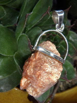 Raw Shimmering ORANGE SUNSTONE PENDANT In Sterling Silver (Includes Free Silver chain) - Earth Family Crystals