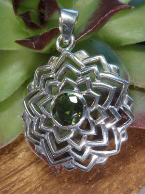 High Vibration Faceted Green MOLDAVITE LOTUS FLOWER PENDANT In Sterling Silver (Includes Silver Chain) - Earth Family Crystals