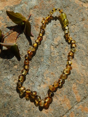Vibrant Lemon Baby/Child Lithuanian Baltic Amber Necklace
