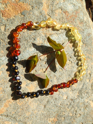 Rainbow Beads Baby/Child Lithuanian Baltic Amber Necklace