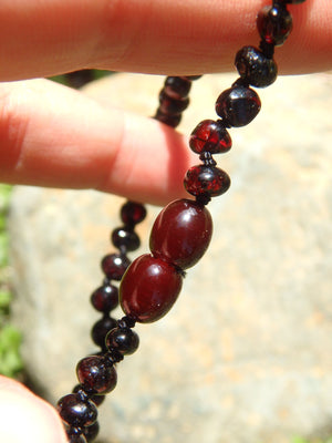 Dark Burgundy Beads Baby/Child Lithuanian Baltic Amber Necklace
