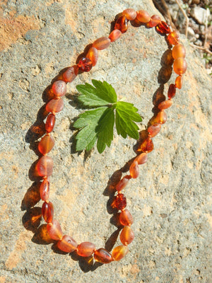 Cognac Polished & Unpolished Beads Baby/Child Lithuanian Baltic Amber Necklace