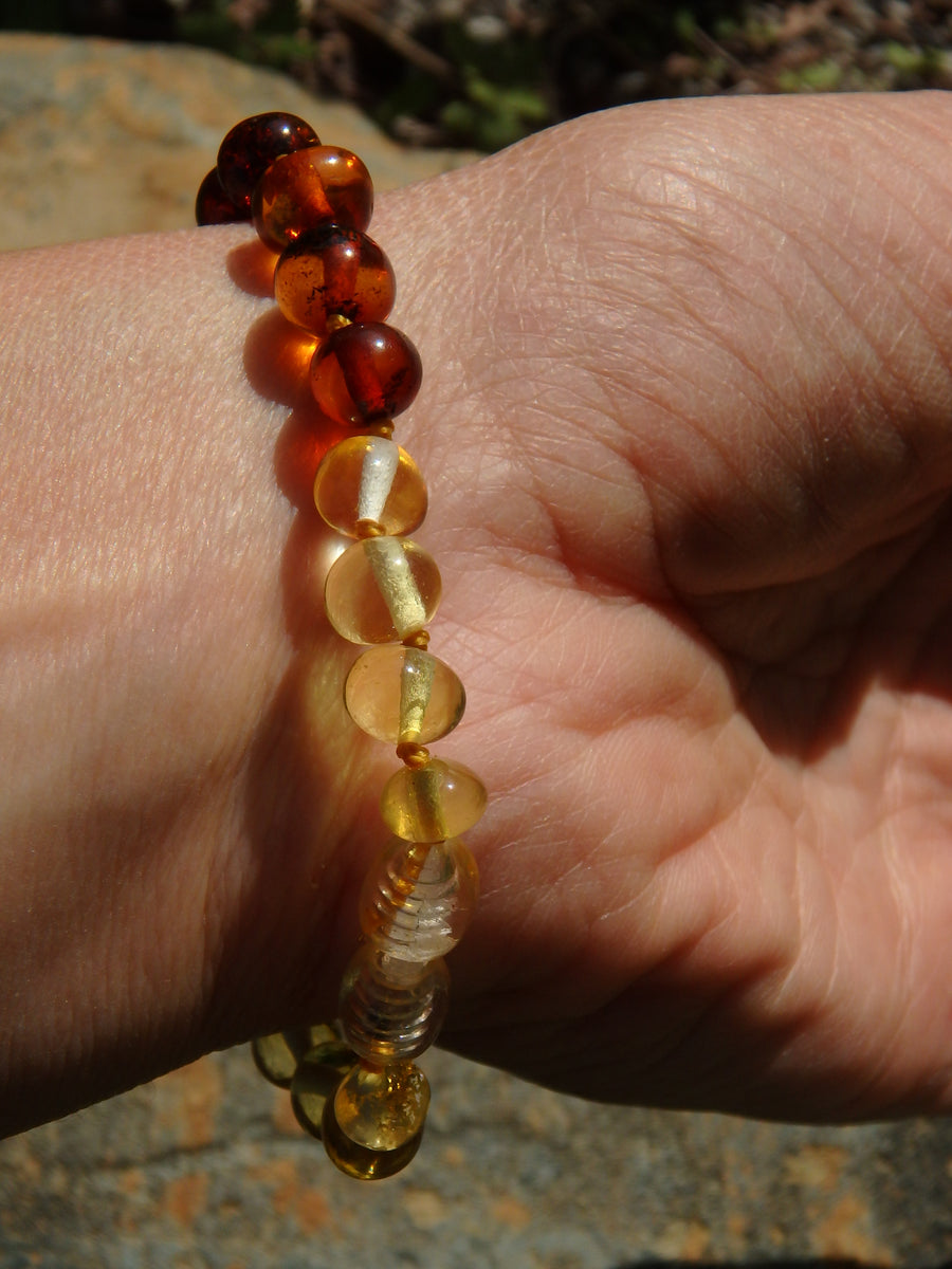 Rainbow Lithuanian Baltic Amber Bracelet on Silk thread with Screw Clasp