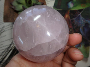 Sweet Pink ROSE QUARTZ GEMSTONE SPHERE - Earth Family Crystals