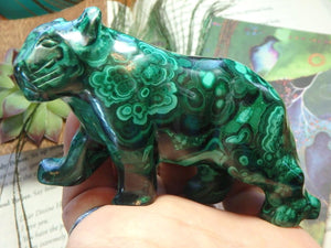 Stunning JAGUAR MALACHITE GEMSTONE CARVING - Earth Family Crystals