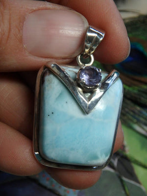 Uniquely Crafted LARIMAR PENDANT With Amethyst Accent Stone In Sterling Silver (Includes Silver Chain) - Earth Family Crystals