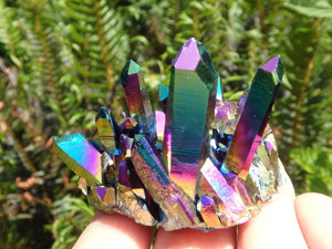 Rainbow Display TITANIUM QUARTZ CLUSTER With Self Healed Bottom - Earth Family Crystals